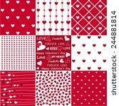 seamless patterns valentine's...   Shutterstock .eps vector #244881814
