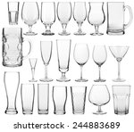 Collection Empty Glassware White Background - Fine Art prints
