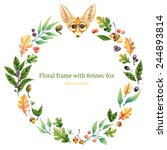watercolor frame with fennec... | Shutterstock .eps vector #244893814