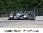 Elkhart Lake Wisconsin, USA - August 18, 2012: Road America Road Race Showcase, ALMS prototype IMSA. American Le Mans Series Four-hour, timed period. Scott Tucker, Christophe Bouchut, HPD ARX-03b,  - stock photo