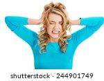 sad and depressed woman deep in ... | Shutterstock . vector #244901749