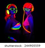 two sexy female disco dancers... | Shutterstock . vector #244905559