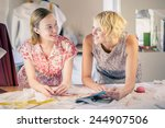 two young women dressmakers at... | Shutterstock . vector #244907506