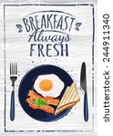 breakfast poster. fried egg and ... | Shutterstock .eps vector #244911340
