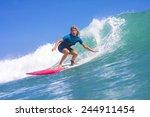 surfer girl on the wave ... | Shutterstock . vector #244911454