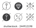 set of vector outline badges or ... | Shutterstock .eps vector #244912198