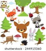 forest animal vector... | Shutterstock .eps vector #244915360