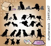 Stock vector dogs silhouette part of dog s style 24491647