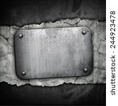 iron plate on concrete wall | Shutterstock . vector #244923478