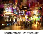 colorful painting of night... | Shutterstock . vector #244926889