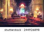 Interior View Of A Church...