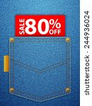 sale off tag in blue denim... | Shutterstock .eps vector #244936024