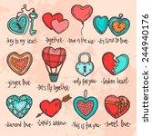 set of hand drawn valentine... | Shutterstock .eps vector #244940176