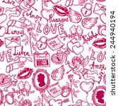 seamless pattern with love... | Shutterstock .eps vector #244940194