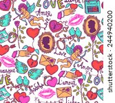 seamless pattern with love... | Shutterstock .eps vector #244940200