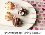 tasty cake pops on plate  close ... | Shutterstock . vector #244943080