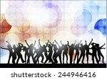 dancing women and men with... | Shutterstock .eps vector #244946416