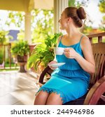 young woman in blue dress... | Shutterstock . vector #244946986