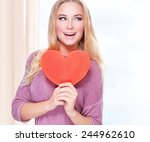 portrait of beautiful happy... | Shutterstock . vector #244962610