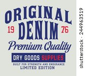 vintage denim typography  t... | Shutterstock .eps vector #244963519