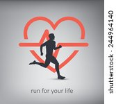 running or jogging concept... | Shutterstock .eps vector #244964140