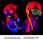 two sexy female disco dancers... | Shutterstock . vector #244966579
