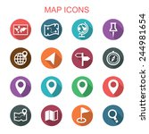 map long shadow icons  flat... | Shutterstock .eps vector #244981654