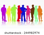 people silhouettes group women... | Shutterstock .eps vector #244982974