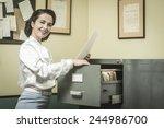 smiling vintage secretary... | Shutterstock . vector #244986700