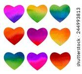 set of watercolor rainbow... | Shutterstock .eps vector #244993813