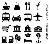 map and location icons.vector | Shutterstock .eps vector #244995910
