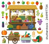 Food Market. Vector Flat...