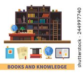 bookcase. cabinet and library.... | Shutterstock .eps vector #244997740