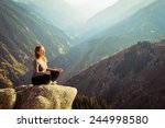 yoga at summit with aerial view ... | Shutterstock . vector #244998580
