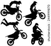 set silhouettes motocross rider ... | Shutterstock .eps vector #244999870