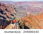 Hiker Man In Grand Canyon ...