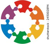 Six Color Puzzle Circle. Vecto...