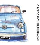 blue car   watercolor... | Shutterstock . vector #245005750