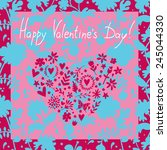 greeting card valentine's day... | Shutterstock .eps vector #245044330