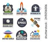 space logo set. observatory ... | Shutterstock .eps vector #245056006