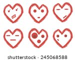 set of hearts with looks of red ... | Shutterstock .eps vector #245068588