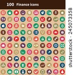 100 finance icons  brown... | Shutterstock .eps vector #245073358
