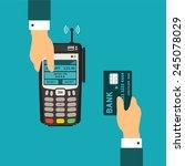 pos terminal usage vector... | Shutterstock .eps vector #245078029
