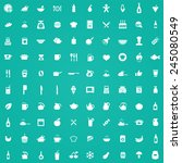 100 cooking icons  white on... | Shutterstock .eps vector #245080549