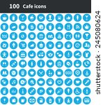 100 cafe icons  blue circle... | Shutterstock .eps vector #245080624