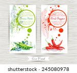 flyer with green peas and chili ... | Shutterstock .eps vector #245080978