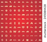 100 car icons  yellow on red... | Shutterstock .eps vector #245084428