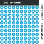 100 books icons  blue circle... | Shutterstock .eps vector #245088100