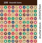 100 award icons  brown... | Shutterstock .eps vector #245092564