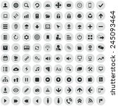 100 app icons  black on circle... | Shutterstock .eps vector #245093464